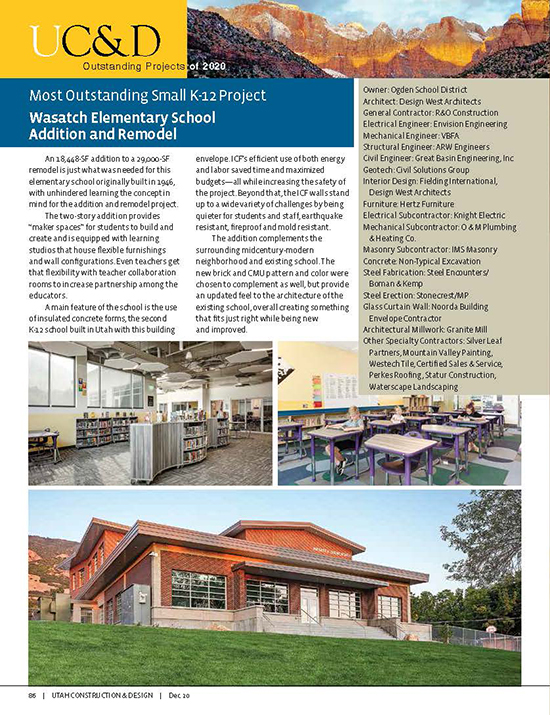 Wasatch Elementary School Remodel & Addition Wins Most Outstanding Small K-12 Project